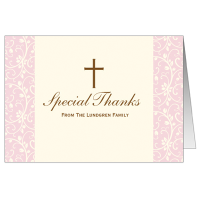 Pink Vines First Communion Thank You Card