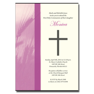 Traditional Wheat Purple Invitation