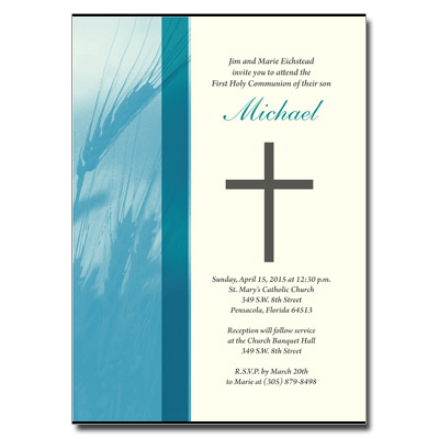 Traditional Wheat First communion Invitation - Blue