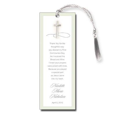 Simple Cross First Communion Bookmark