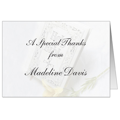 Holy Bible First Communion Thank You Card