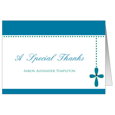 Bubble Cross Jeweled Thank You Card - Blue