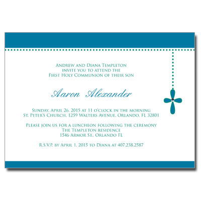 Bubble Cross Blue Jeweled First Communion Invitation