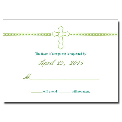 Dazzle Cross First Communion Response Card