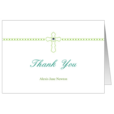 Dazzle Cross first Communion Thank You Card