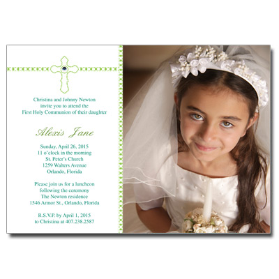 Dazzle Cross First Communion Invitation
