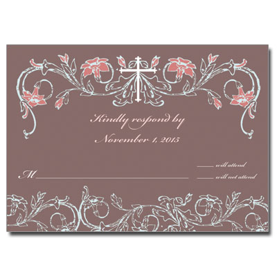 Dusty Rose Jeweled First Communion Response Card