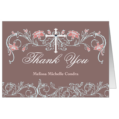 Dusty Rose Jeweled  First Communion Thank You Card
