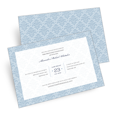 Elegant Damask First Communion Invitation - Blue