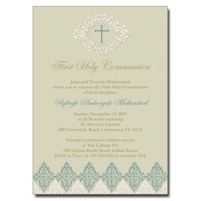 Elegant Sage First Communion Invitation