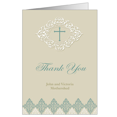 Elegant Sage First Communion Thank You Card