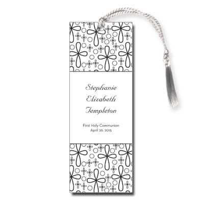 Flower Crosses First Communion Bookmark