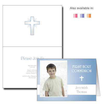 Folded Photo First Communion Invitation