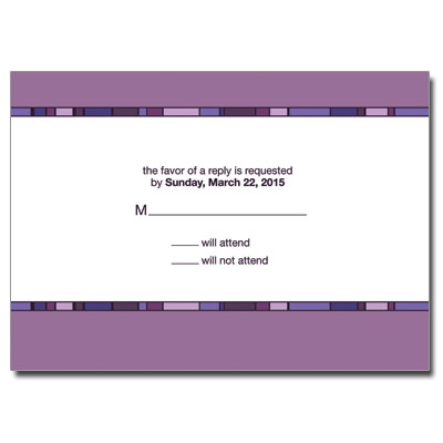 Geometric Purple Cross First Communion Response Card