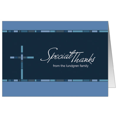 Geometric Blue Cross First Communion Thank You Card