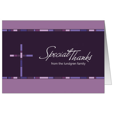 Geometric Purple Cross First Communion Thank You Card