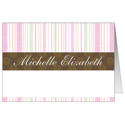 Mod Religious Pink Stripes First Communion Thank You Card