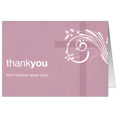 Modern Mauve Swirl First Communion Thank You Card