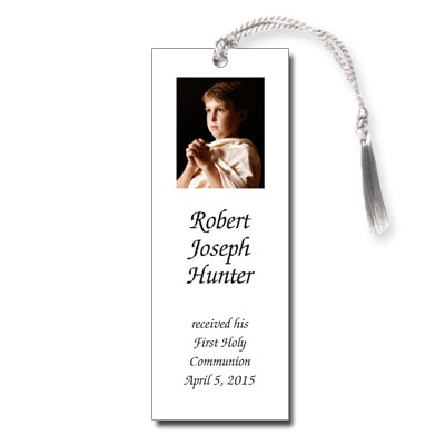 Photo White First Communion Bookmark