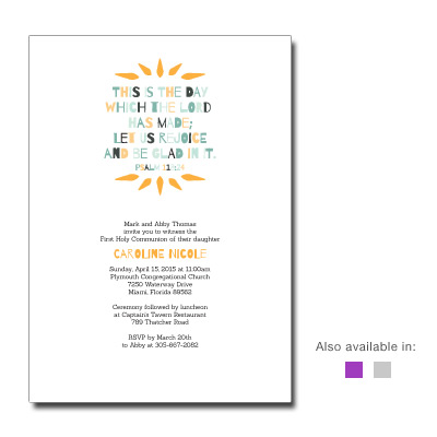 Psalm 118 First Communion Invitation