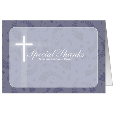 Round Purple Frame First Communion Thank You Card
