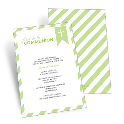 Striped Bookmark First Communion Invitation - Green