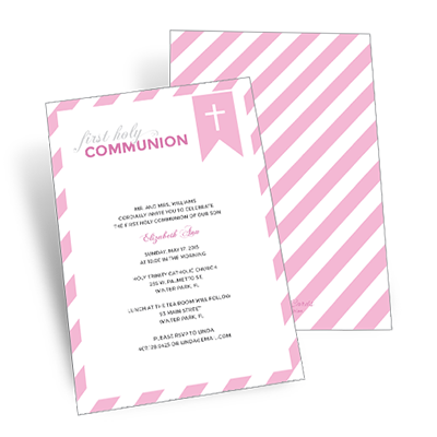 Striped Bookmark First Communion Invitation - Pink