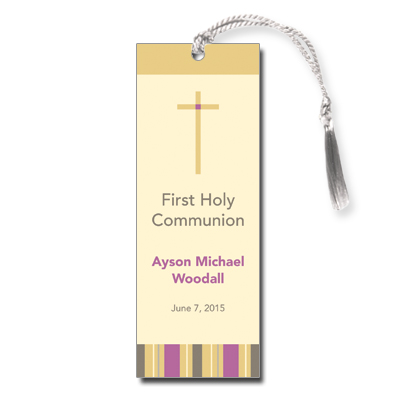 Sunrise Stripes First Communion Bookmark