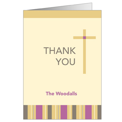 Sunrise Stripes First Communion Thank You Card