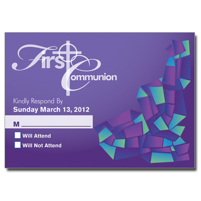 Abstract Glass Purple First Communion Response Card