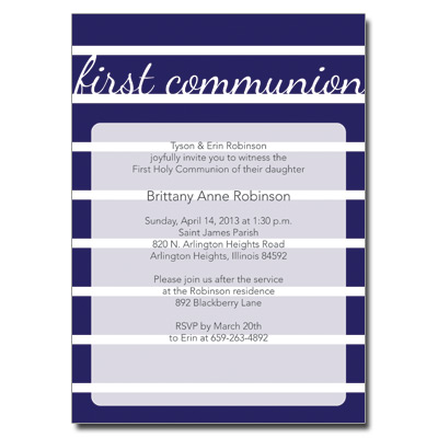 Bold Stripes Blue First Communion Invitation