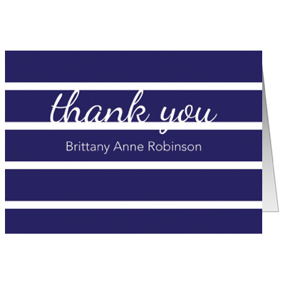 Bold Stripes First Communion Thank You Card - Blue