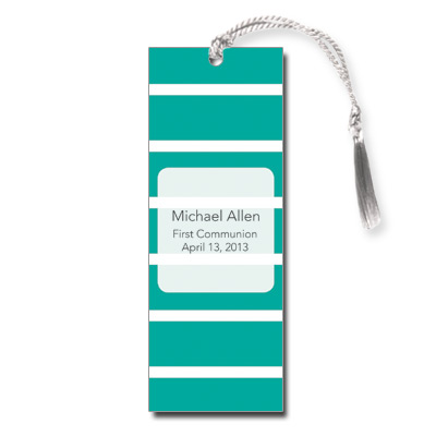 Bold Stripes Teal First Communion Bookmark
