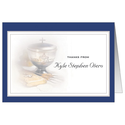 Silver Chalice Blue First Communion Thank You Card