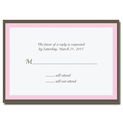 Chocolate & Pink First Communion Response Card