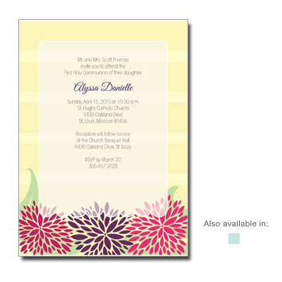 Dahlia Flowers First Communion Invitation