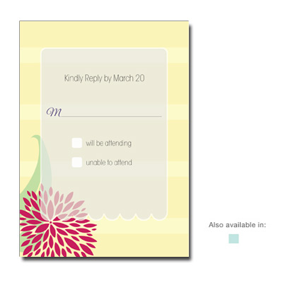 Dahlia Flowers First Communion Response Card