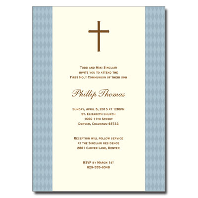 Diamond Blue First Communion Invitation