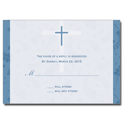 Round Blue Frame First Communion Response Card