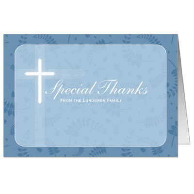 Round Blue Frame First Communion Thank You Card