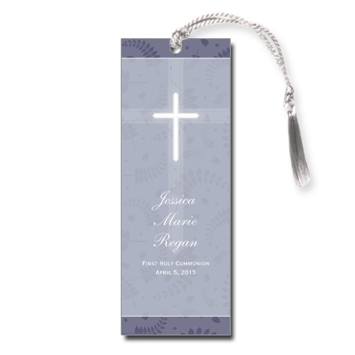 Round Purple Frame First Communion Bookmark