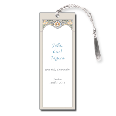 Stained Glass Blue First Communion Bookmark