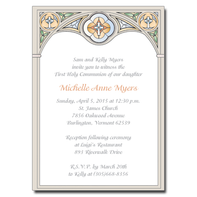 Stained Glass First Communion Invitation - Yellow