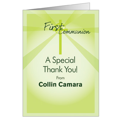 Lightbeams First Communion Thank You Card - Green