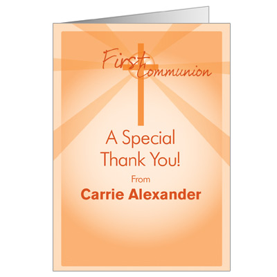 Lightbeams First Communion Thank You Card - Orange