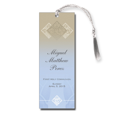 Pastel Boy Cross First Communion Bookmark