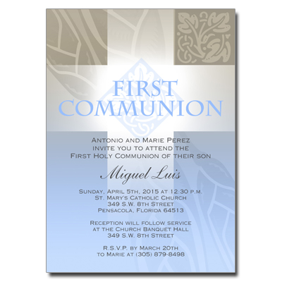 Pastel Boy Cross First Communion Invitation