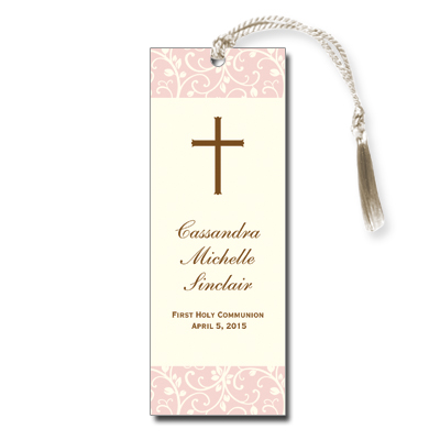 Pink Vines First Communion Bookmark