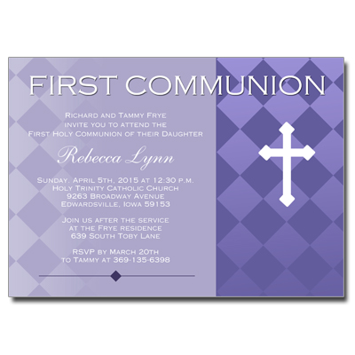 Purple Argyle First Communion Invitation