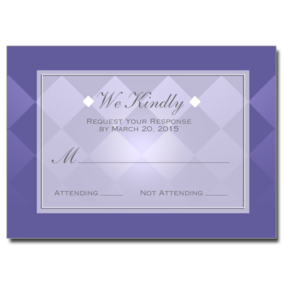 Purple Argyle First Communion Response Card